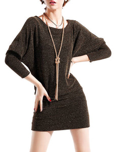 Sparkling Boat Neck Batwing Sleeve Bodycon Dress