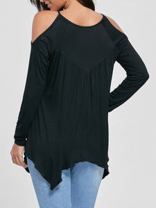Open Shoulder Asymmetric Hem Hollow Out Plain Long Sleeve T-Shirt