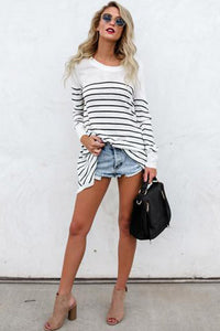 Round Neck  Stripes T-Shirts