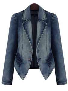 Lapel Demin Light Wash Jacket