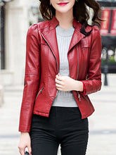 Band Collar  Zips  Plain PU Leather Biker Jacket