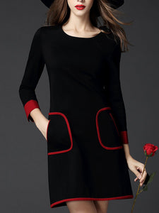 Round Neck  Contrast Trim  Color Block  Blend Shift Dresses
