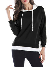Drawstring Color Block Fake Two-Piece Hoodie