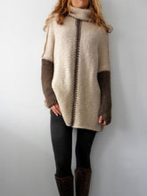 Oversized Turtleneck Color Block Sweater