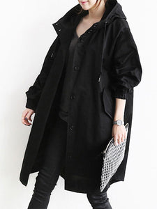 Oversized Hooded Flap Pocket Plain Longline Coat