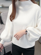High Neck  Plain  Puff Sleeve Pullover