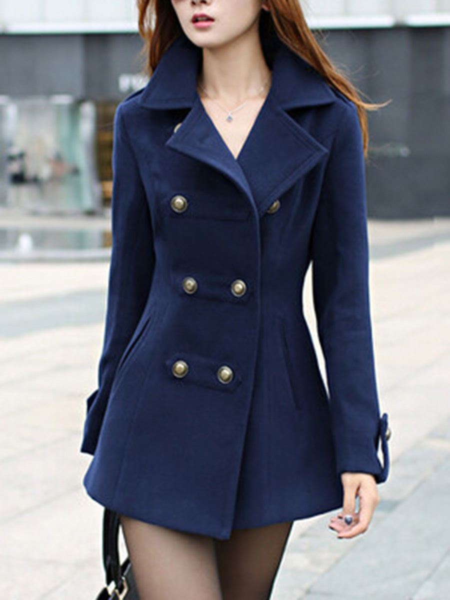 Plain Lapel Double Breasted Pocket Woolen Trench Coat