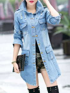 Distressed Flap Pocket Denim Light Wash Trench Coat