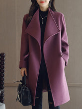 Lapel Drawstring Pocket Plain Woolen Trench Coat