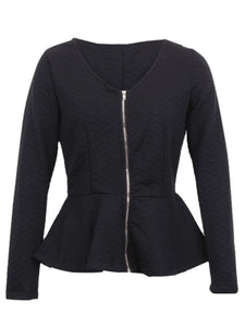 Collarless Peplum Zips Plain Jacket