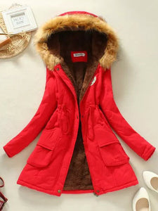 Hooded Drawstring Patch Pocket Coat