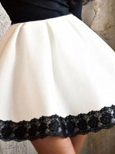Round Neck  Decorative Lace  Color Block Skater Dresses