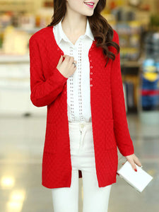 Collarless  Patch Pocket  Plain Cardigan