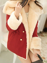 Lapel Double Breasted Drawstring Woolen Coat