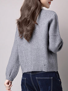 Collarless Plain Knitted Jacket