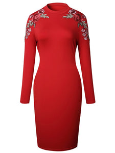Band Collar Embroidery Patch Bodycon Dress