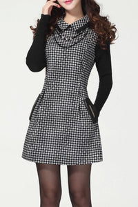 Lapel  Patchwork  Plaid Shift Dresses