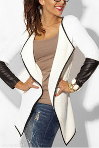 Small Lapel  Contrast Trim  Plain Cardigans
