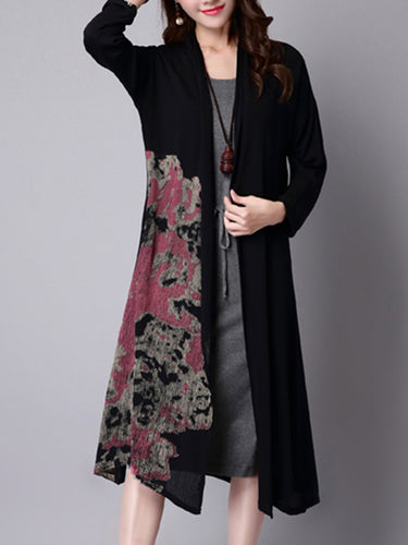 Round Neck Printed Cardigan