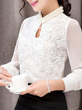 Band Collar Beading Keyhole Floral Plain Blouse