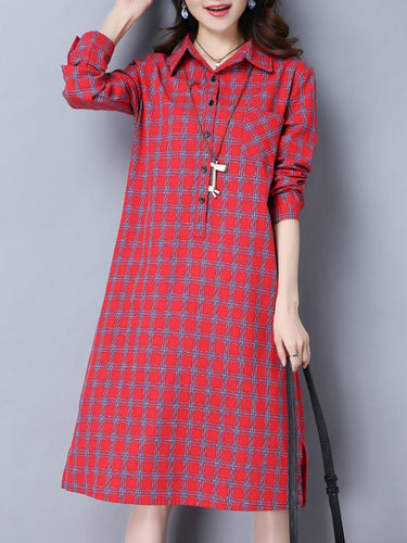 Polo Collar Plaid Cotton/Linen Shift Dress