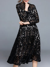 Band Collar See-Through Lace Maxi Dress