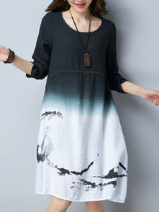 Round Neck Gradient Printed Shift Dress