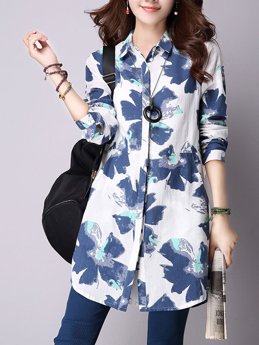 Band Collar  Pocket  Printed Blouse