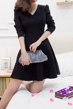 V Neck  Bust Darts  Plain Skater Dresses