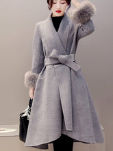 Lapel Pocket Belt Plain Woolen Coat