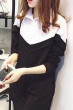Fold Over Collar  Patchwork  Color Block  Batwing Sleeve Shift Dresses