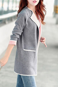 Round Neck  Contrast Trim Slit Pocket  Color Block Coats
