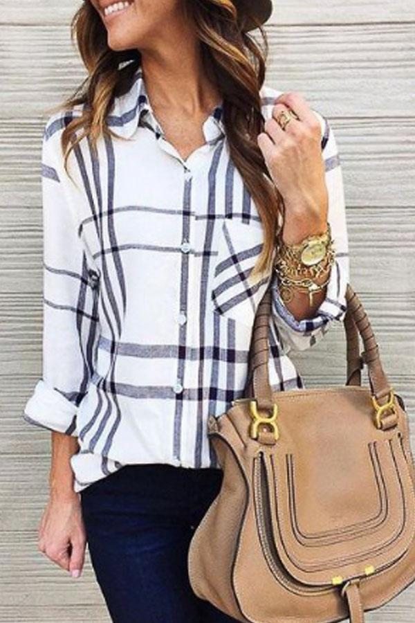 Patch Pocket Single Breasted  Gingham  Blouses