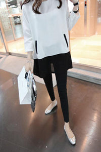 Crew Neck  Patchwork  Color Block Long Sleeve T-Shirts
