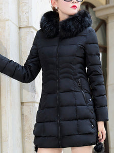 Hooded Pocket Quilted Plain Coat