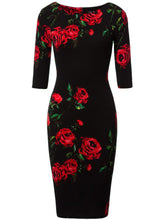 Round Neck  Floral  Blend Plus Size 5XL Bodycon Dress