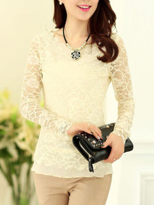 Solid Lace See-Through Long Sleeve T-Shirt
