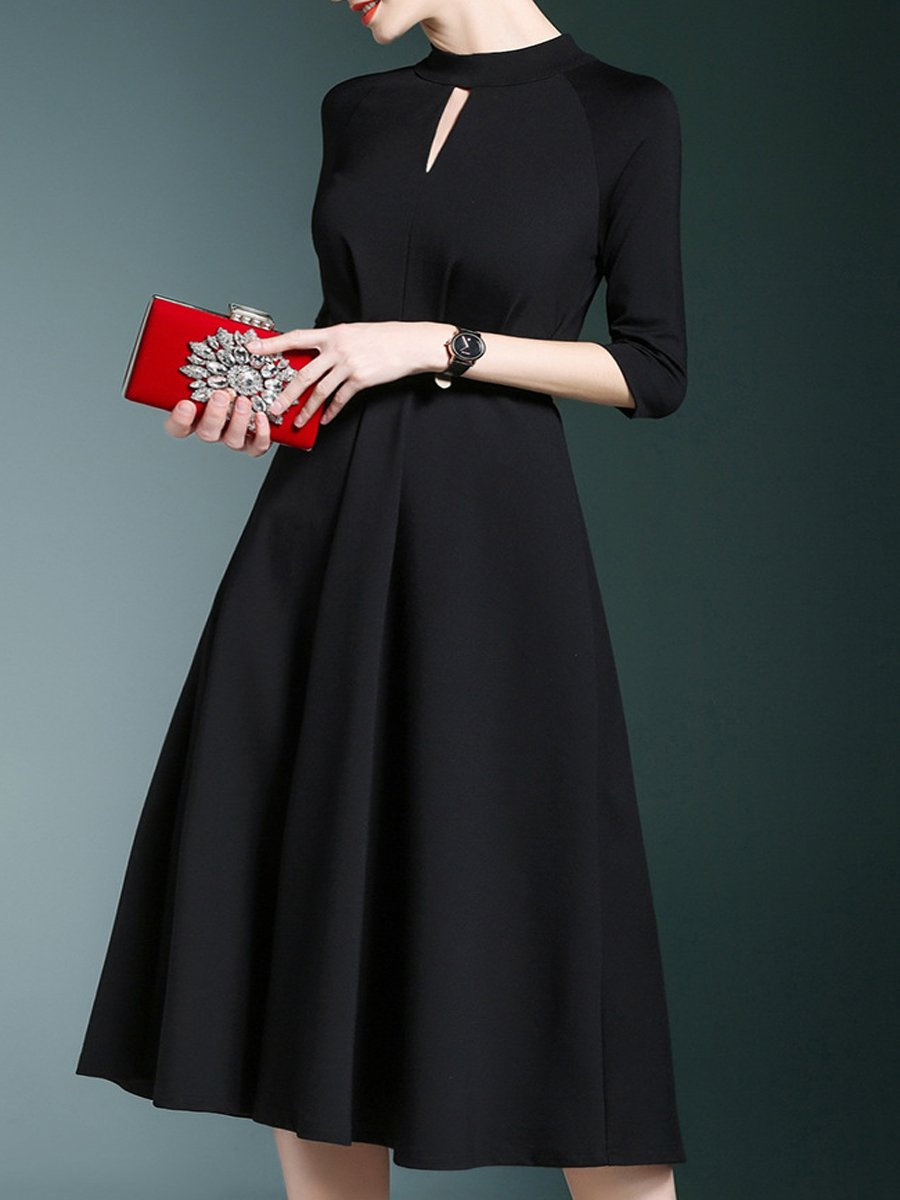 Band Collar  Plain  Polyester Evening Dresses
