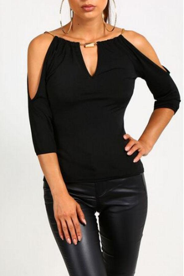 Open Shoulder V Neck  Hollow Out Plain T-Shirts