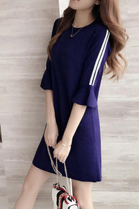 Round Neck  Color Block Striped  Bell Sleeve Shift Dresses