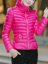 High Neck Zips Quilted Plain Padded Coat