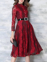 Band Collar Lace Hollow Out Maxi Dress