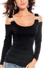Open Shoulder Spaghetti Strap  Plain T-Shirts