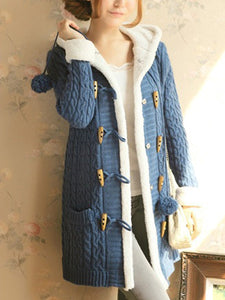 Hooded Patch Pocket Fleece Lined Knitted Coat