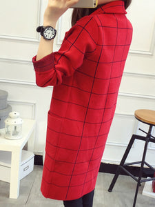 Lapel Plaid Patch Pocket Knitted Trench Coat