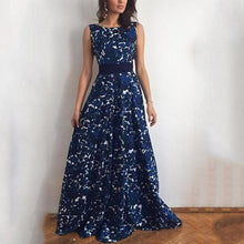 Print Halter Evening Dress With Belt