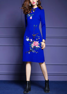 Knitted Embroidery Bodycon Dress