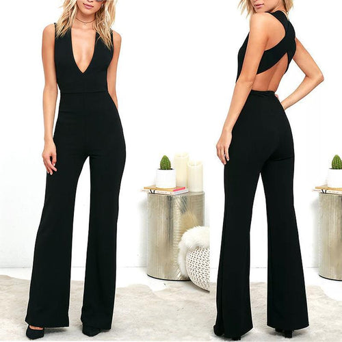 Fashion Deep V Halter Slim Jumpsuit