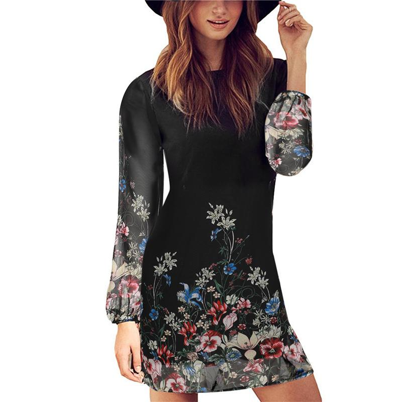 Floral Print Round Neck Chiffon Shift Dresses