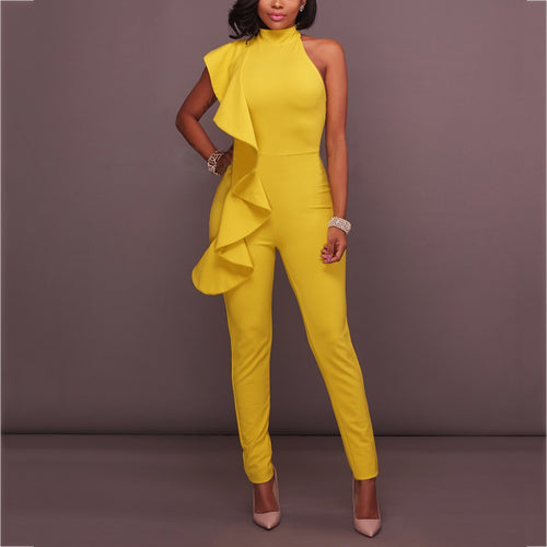 Sexy Package Hip Solid Jumpsuit